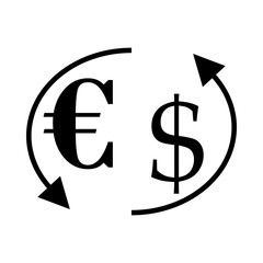 icon Currency with bank, forex, dollar, euro and euro usd exchange