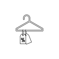 discount tags on the hanger icon. Element of sale signs for mobile concept and web apps. Thin line  icon for website design and development, app development. Premium icon