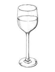 Hand drawn white wine glass