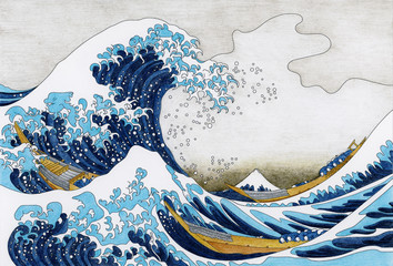 Wall Murals Abstract wave Hokusai The Great Wave Of Kanagawa adult coloring page