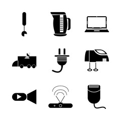 icon Electronic with internet, laptop, router modem, notebook and data