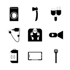 icon Technology with repairing, document, charge, video camera and universal