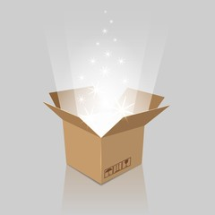 Surprise box. Empty magic opened box with present for birthday, anniversary or holiday party, vector illustration
