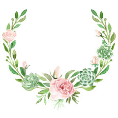 Watercolor Greenery, Rose & Succulent Wreath