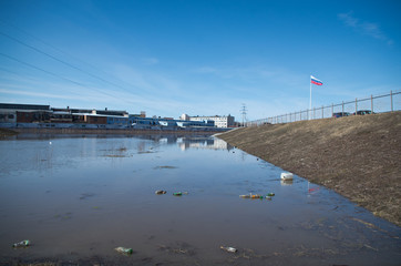 RUSSIA, TULA - APRIL 08, 2017: Upa River burst its banks.