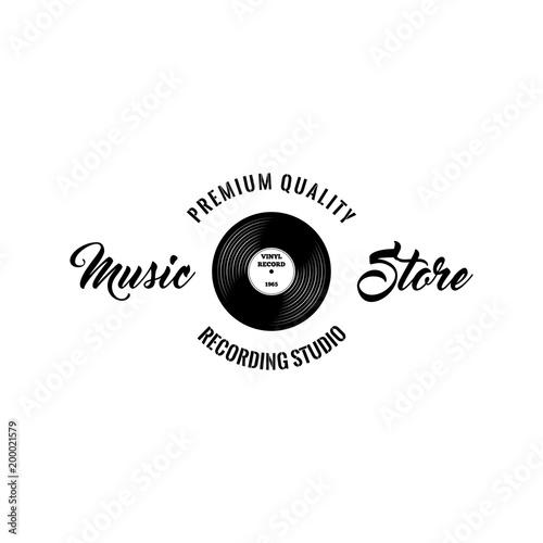 Retro vinyl disk  Music store logo label  Music icon  Vector