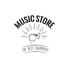 Horn. Music store logo. Music shop label. Wind Musical Instrument. Vector.