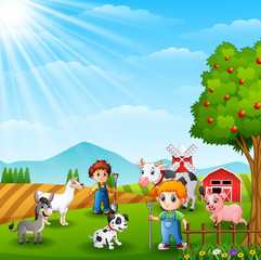 The farmers keeping animals in farm