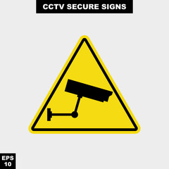Cctv, alarm, monitored and 24 hour video camera sign in vector style version, easy to use and print
