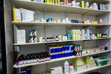 View of medicine on a shelf