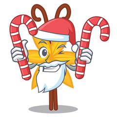 Santa with candy vanilla mascot cartoon style