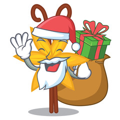 Santa with gift vanilla mascot cartoon style