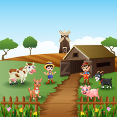 Young farmers activities with animals front of cage