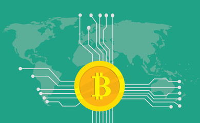 bitcoin cryptocurrency brand icon option with golden coin and electronic point with world map background