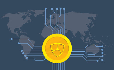 nem cryptocurrency brand icon option with golden coin and electronic point with world map background