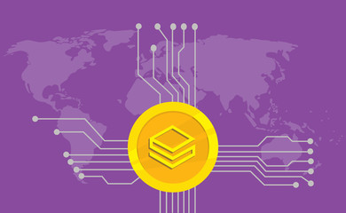stratis cryptocurrency brand icon option with golden coin and electronic point with world map background