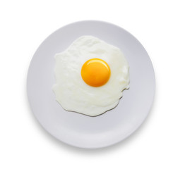 top view macro close up fried egg in dish on white background