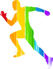 Painted Rainbow Man Running Athlete Silhouette