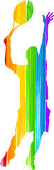Painted Rainbow Man Playing Tennis Serve Silhouette