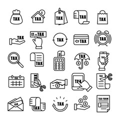 Tax and Currency outline Icon set
