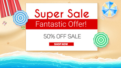 Poster of Summer sales on seashore backdrop. Get up to fifty percent discount, special offer. Beach umbrellas, golden sand, slippers and starfish on backdrop. Ad for shopping events, 3D illustration.
