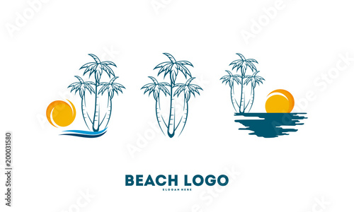 set of palm tree with ocean wave logo template vector travel logo template beach