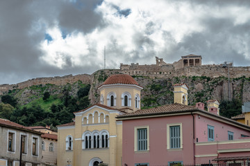 Athens - view of Acropolis from Plaka District