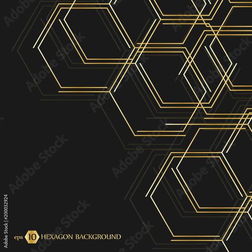 Hexagonal geometric background  Hexagons genetic and social network