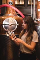 Woman working in beer factory
