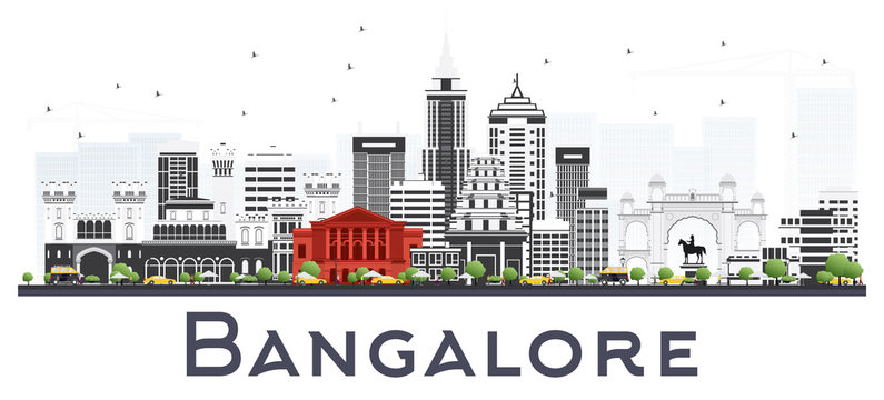 Bangalore India City Skyline with Gray Buildings Isolated on White.