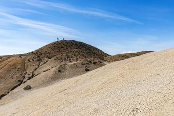 A traveler on top of a mountain