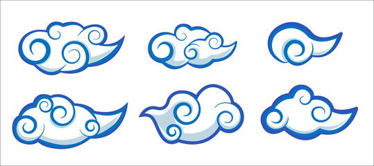 set of cloud japan and china style vector