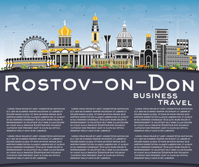 Rostov-on-Don Russia City Skyline with Color Buildings, Blue Sky and Copy Space.