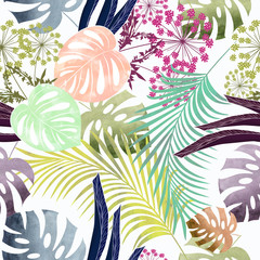 Seamless colorful tropical pattern with watercolor effect.