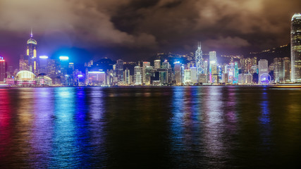The most beautiful Viewpoint The Symphony of Lights in Hong Kong.(Put the coloring filter )