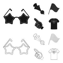Pipe, uniform and other attributes of the fans.Fans set collection icons in black,outline style vector symbol stock illustration web.