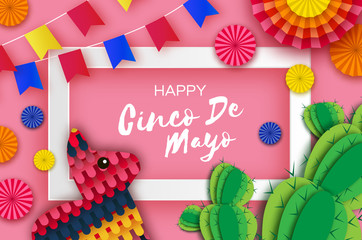 Happy Cinco de Mayo Greeting card. Colorful Paper Fan, Flags, Funny Pinata and Cactus in paper cut style. Origami Sombrero hat. Mexico, Carnival. Recangle frame on sky pink. Space for text.