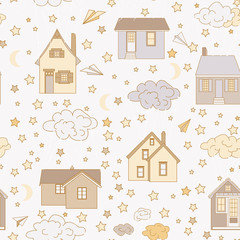 at home like balloons. Houses fly in the clouds. The clouds are harnessed. Flying houses. Children s bright, colored patron. Sky, flight, fantasy. stars, space, night, calm nights,