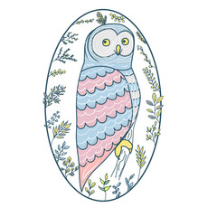 Cute owl for a nightie in a plant frame. Children s vector picture. New arrival card baby shower , invitation, vector illustration. illustration owl pastel color for children.