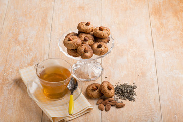 almond cookies with  green tea