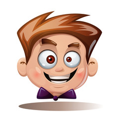 Cartoon head boy. Funny smiley. Vector eps 10