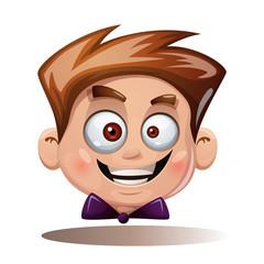 Cartoon head boy. Funny smiley. Vector eps 10