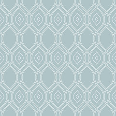Seamless vector ornament. Modern background. Geometric modern blue and white wavy pattern