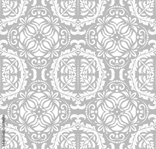 """""""Classic Seamless Vector Pattern. Damask Orient Silver"""