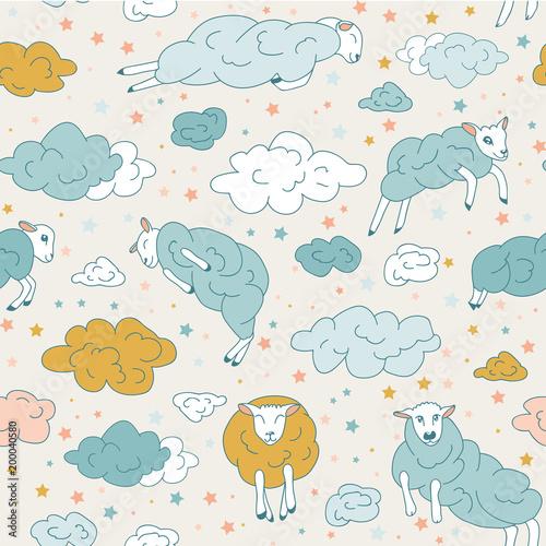Childish Good Night Sleep Seamless Pattern Background Cartoon Moon Star Sheep For Design