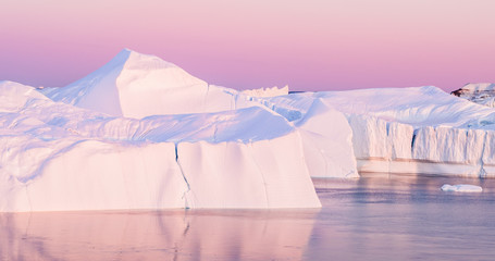 Iceberg from glacier in arctic nature landscape on Greenland - aerial photo
