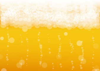 Beer background with realistic bubbles. Cool beverage for restaurant menu design, banners and flyers. Yellow horizontal beer background with white frothy foam. Cold pint of golden lager or ale.