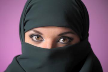 portrait of an oriental woman in black