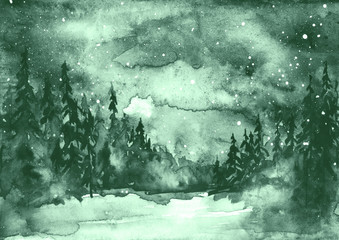 Watercolor painting, illustration, greeting card. Forest, suburban landscape, silhouettes of fir trees, pines, trees and bushes, the night sky with stars. green color.