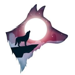 wolf, dog illustration. Cartoon night landscape Vector eps 10